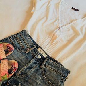 Ivory Jewel Zipper Cap Sleeve Summer Cardigan